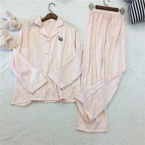 Image 1 - Женский пижамный комплект Lisacmvpnel, с отложным воротником, искусственный шелк, повседневный пижамный комплект, Женская домашняя одежда