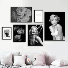 Marilyn Monroe Flower Paris Perfume Quote Wall Art Canvas Painting Nordic Poster Art Prints Wall Pictures For Living Room Decor