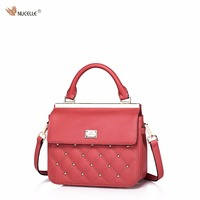 NUCELLE Brand Design Fashion Diamond Lattice Quilting Rivets Cow Leather Women Lady Girls Handbag Shoulder Small
