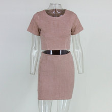 Fashion Women Elegant Faux Suede Leather 2 pieces  Dress Vintage Short Sleeve  o-neck Open Back  Casual  hollow out back Dress