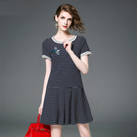 Fowice 2017 New Spring Fashion Short Sleeve Bird Embroidery Striped Dress High Quality O Neck Slim