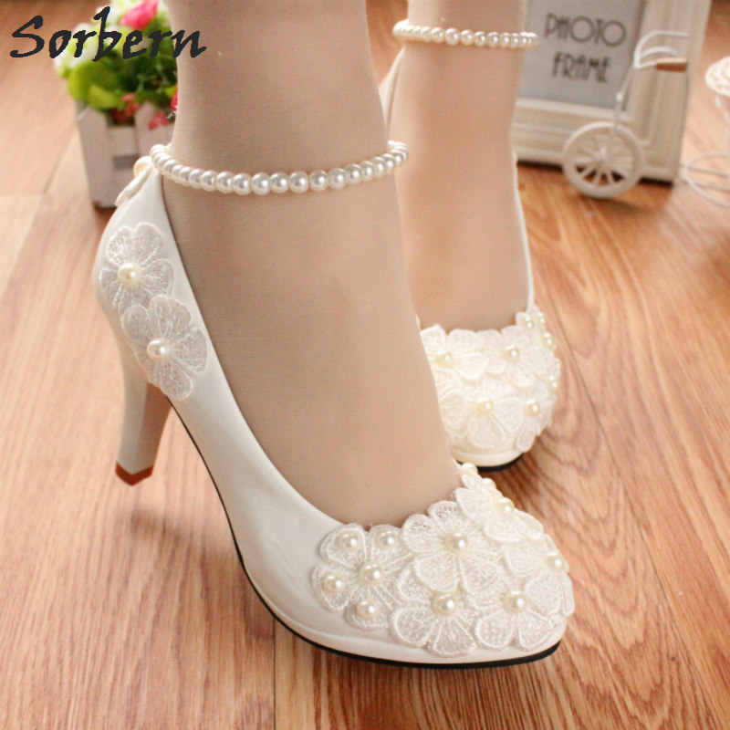 Sorbern Elegant Beading Straps Wedding Shoes White Lovely Lace Flowers  Beaded Bridal Shoes Woman Pump Kitten b2281f6d352f