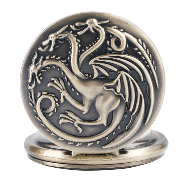 Antique Style Game of Thrones Three Head Dragon Pocket Watch Jewelry