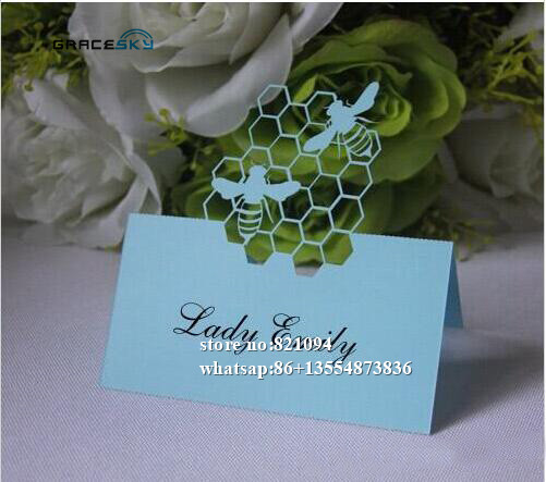50pfree Shipping Laser Cut Honeybee Design Paper Name Place Wedding Birthday Invitation Table Cards For Party Home Decoration