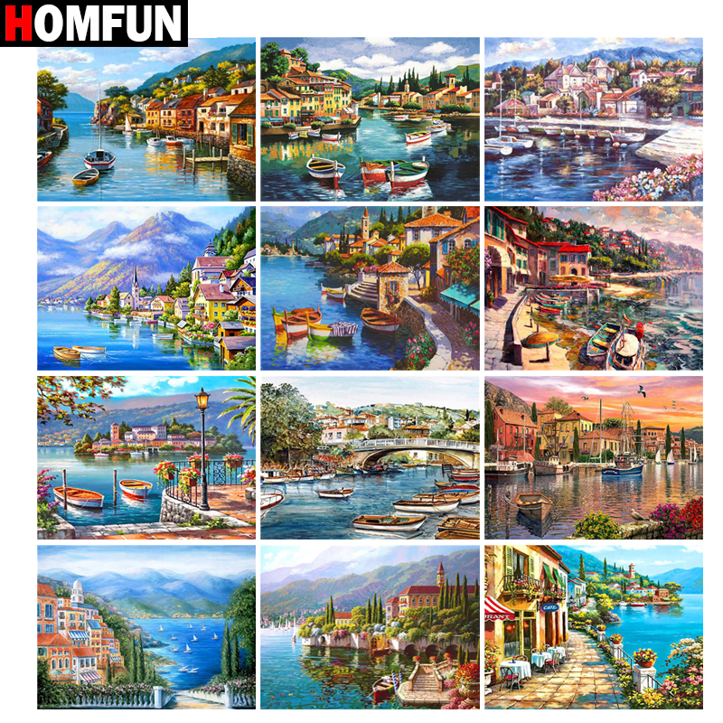 HOMFUN 5D Diamond Embroidery Needlework Kit Small town Diy Diamond Painting Cross Stitch Home Decoration Gift image