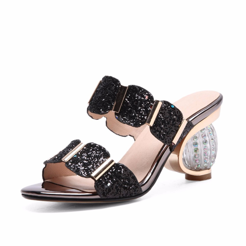 6a6d3a543579e4 Krazing pot brand shoes round crystal high heels women sandals shallow  bling decorations wholesale modern girl summer L0f1-in High Heels from Shoes  on ...