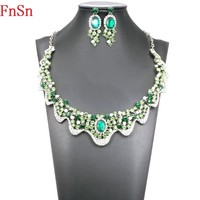 Fnsn Hot New High Quality Crystal Chokers Necklace Jewelry Sets Colorful Rhinestone Wedding Gift Women Brides Prom Party S169