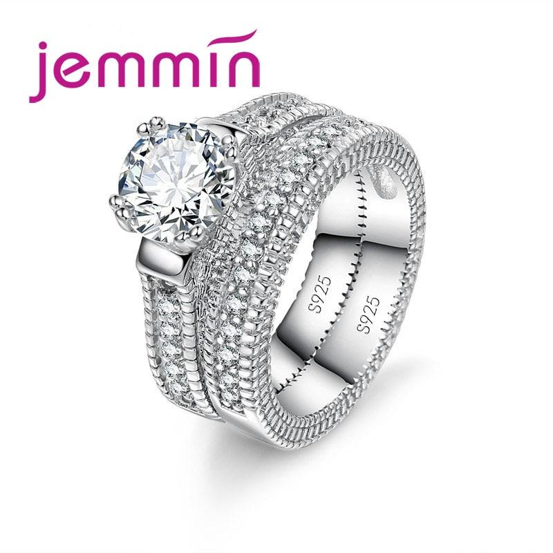 Luxury White Bridal Wedding Ring Set Jewelry Promise CZ Stone Wedding Rings for Women Original Silver Jewelry(China)
