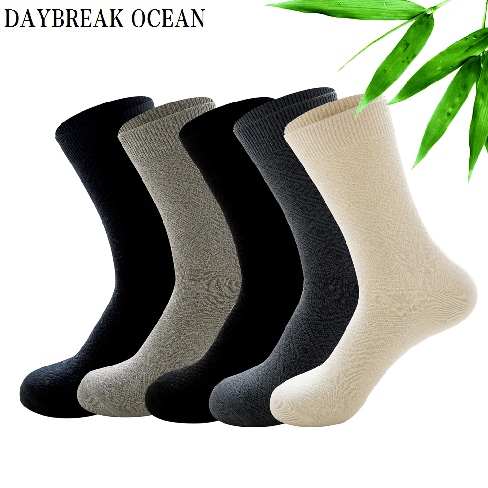 Brand New Quality 5 pairs Homocentric Squar Bamboo Fiber   Socks   Casual Business Anti-Bacterial Deodorant   Socks   Summer Men's   Socks
