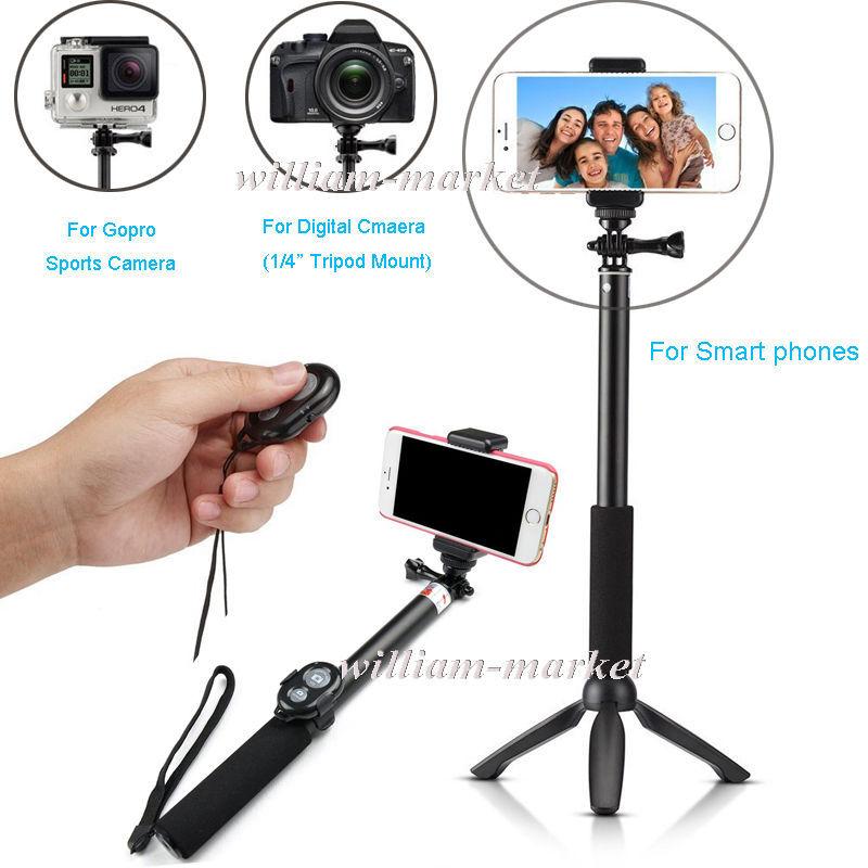 Prix pour YUNTENG Trépied + Bluetooth Sans Fil Obturateur de Caméra + Gopro Monopode Selfie Bâton Pour Sony Z5 C5/Pour Samsung NOTE 7/S7/Pour LG G3 G2