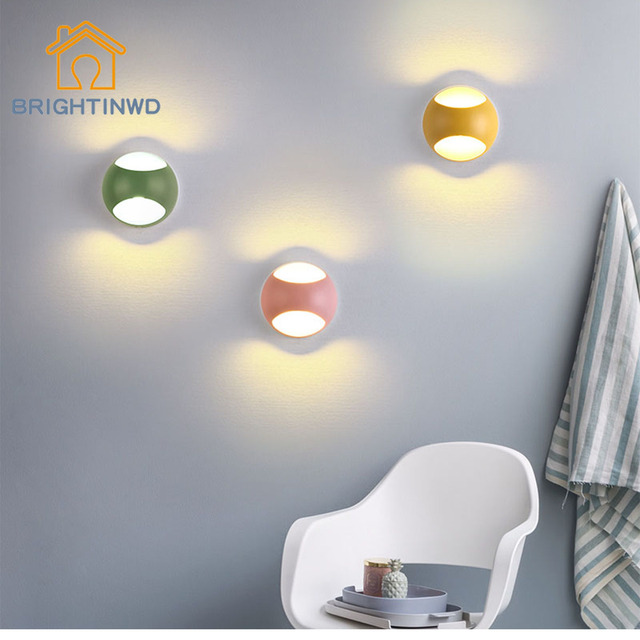 Led Wall Lamps 5w Living Room Light Fixtures Indoor Lights Chromatic Background Kid Stair Mirror Lighting Brightinwd