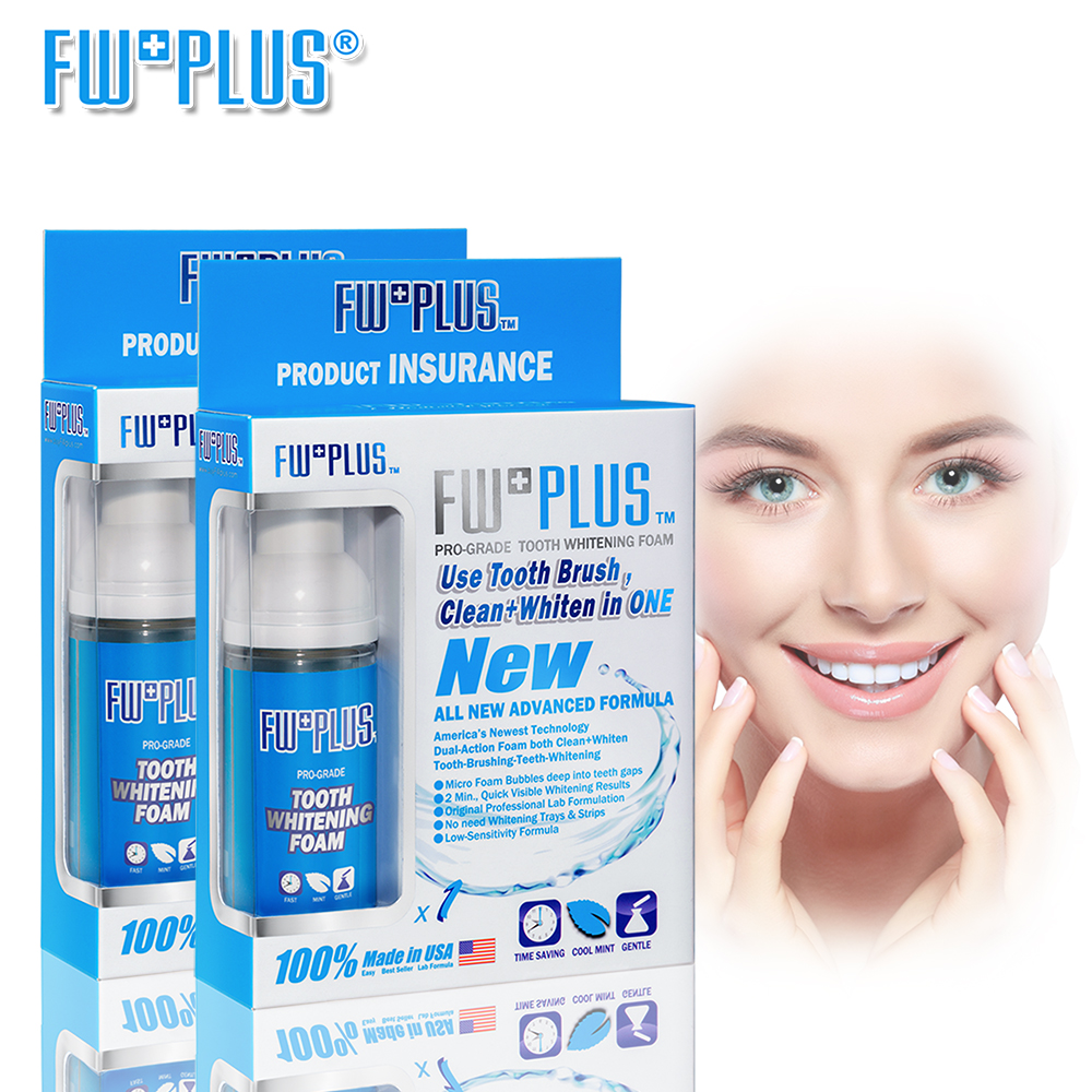 Teeth Whitening FOAM Value-2-Pack Brush-Clean-Whiten Foam Bubbles deep IN Teeth Gaps MUCH WHITER Than Powder USA FWPLUS 20 ncctec spike roller with splash guard 500mm for removing bubbles in epoxy industrial flooring teeth height 11mm