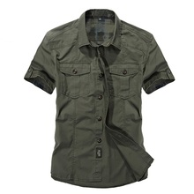 Casual dress shirt men slim fit Military style army green male for boys khaki mens short sleeve cotton designer Breathable Brand