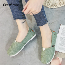 Cresfimix sapatos femininas women casual green cloth flat shoes lady spring & summer dance shoes female anti skid shoes a2059