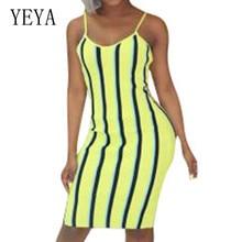 YEYA Elegant Striped Bodycon Personality Dress Sexy Sleeveless Strapless Casual New Fashion Women Summer Ladies Party Wear