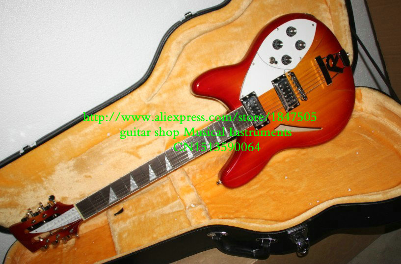 Cherry burst 12 Strings 325 330 Electric Guitar with case Best High Quality Musical instruments