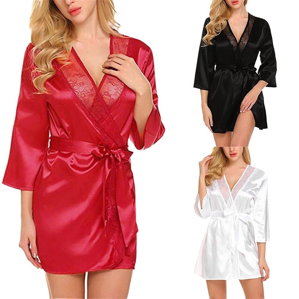 Sexy Night Dress Sleepwear Sexy Nightwear Fashion Women's Autumn Casual Solid Nine-Minute Sleeve Lace Splicing Sleepwear Q60