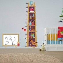 Cartoon Book Shelf Height Measure Wall Sticker For Kids Room Growth Chart Children Diy Mural Nursery Home Decals Wallpaper New