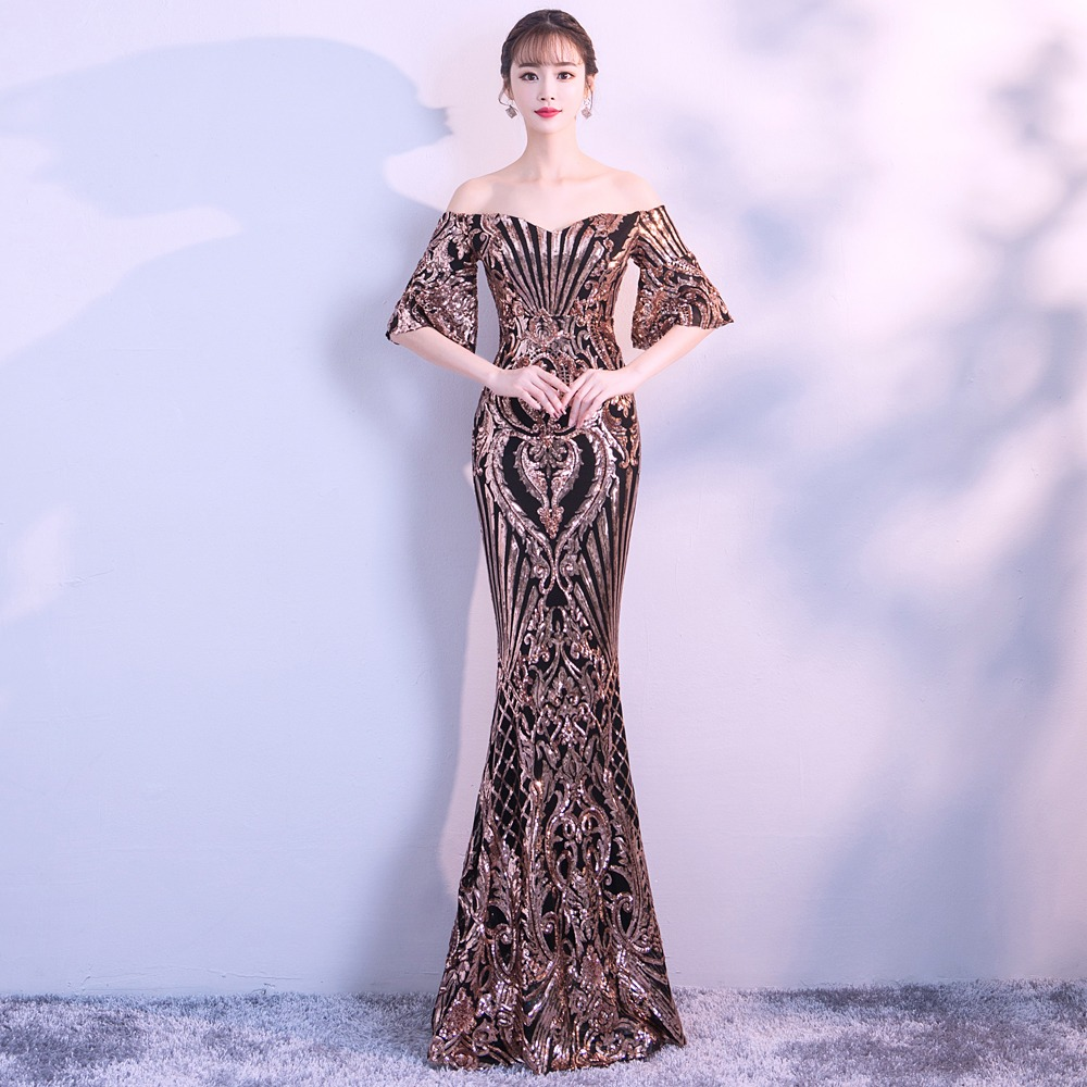 11adfd0beccd YIDINGZS New Arrive Flare Sleeve Sequins Dress Boat Neck Formal Party Long  Evening Dress