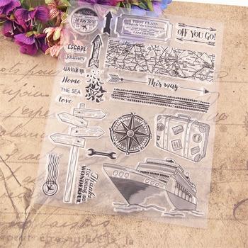 Gran oferta sellos transparentes claros náuticos de viaje/sellos de silicona sello de rodillo para álbum para recortes de fotos/fabricación de tarjetas