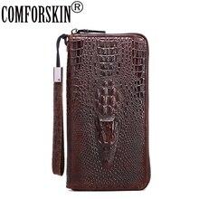 Premium 100% Cowhide Leather Vintage Crocodile Pattern Multi-function Long Zipper Vertical Men Wallets Card Wallet 2017 Hot Sale