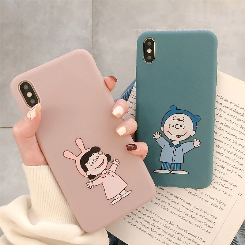 Pink <font><b>Kawaii</b></font> anime Cartoon Charlie Brown Couple cute <font><b>phone</b></font> <font><b>case</b></font> For coque <font><b>iPhone</b></font> <font><b>7</b></font> plus XS max XR <font><b>case</b></font> silicon for <font><b>iPhone</b></font> cover X image