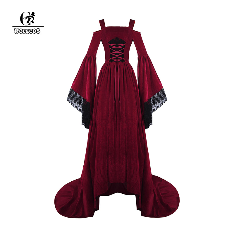 ROLECOS Renaissance Victorian Dress Sling <font><b>Lolita</b></font> Dress Flannel Retro Vintage Dress Long Sleeve Women Christmas Party Clothing image