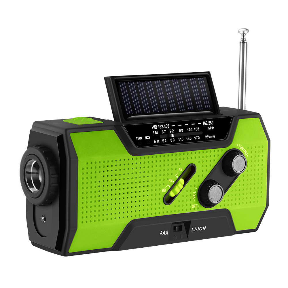 FORNORM for NOAA Weather Radio Emergency Solar Self Powered 4-LED Light Solar Hand Crank 2000 mAh Power 3AAA Battery icoco 3 in 1 emergency charger flashlight hand crank generator wind up solar dynamo powered fm am radio charger led flashlight