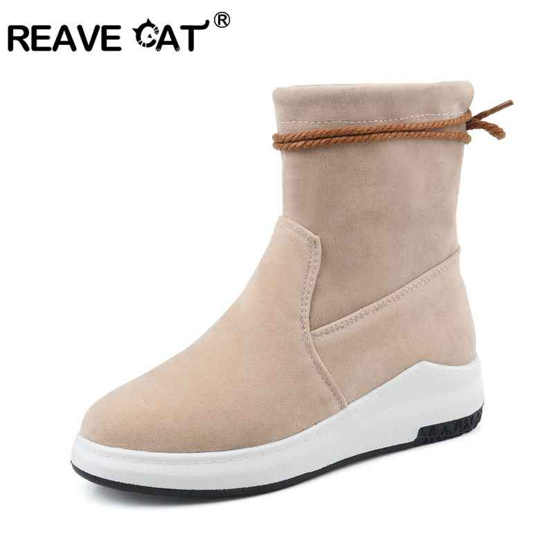 REAVE KEDI Sıcak Peluş Kadın Kar Botları kadın ayak bileği bağcığı çizmeler kadın ayakkabı Bayanlar Kış Ayakkabı Büyük Boy 43 bota a1122