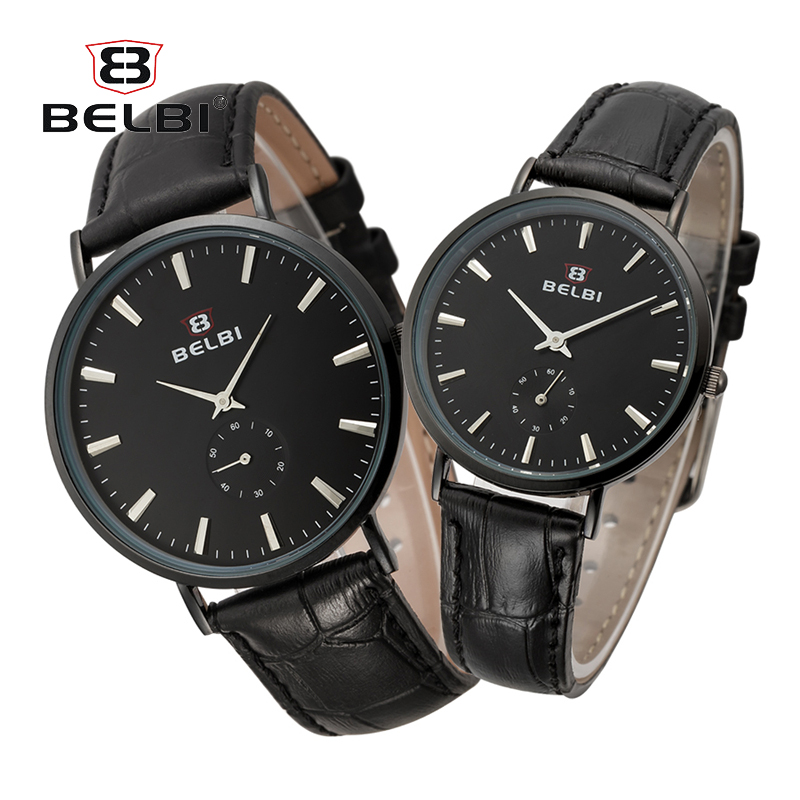 BELBI Couple Leather Watches Ultra-Thin Gold Women Men Quartz Wristwatches Luxury Simple Dial Design Hodinky Lovers Best Gift skmei lovers quartz watches luxury men women fashion casual watch 30m waterproof simple ultra thin design wristwatches 1181