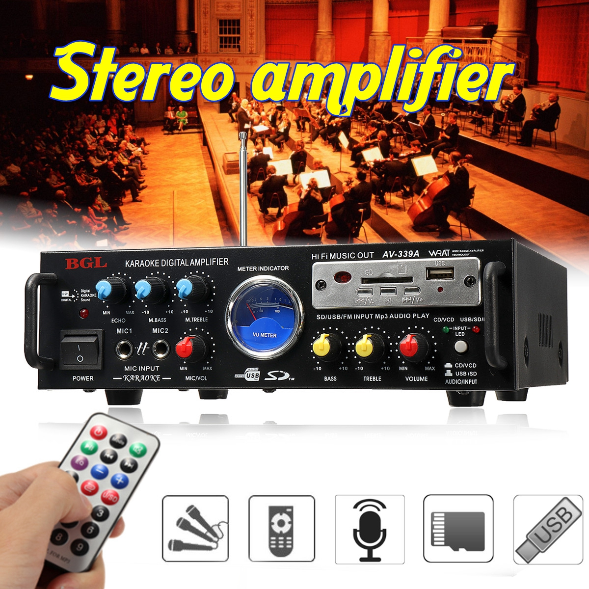 80W 12V/220V 50Hz 5.1 channel Equalizer Stereo Power Amplifier Support SD card / TF card / U disk Home Theater Amplifiers Audio 3800w 4 channel equalizer home stereo power amplifier usb car amplifier home theater amplifiers audio