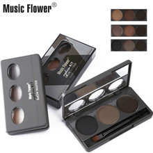 Music Flower Eyebrow Powder Palette Cosmetic Brand Eye Brow Enhancer Pro Waterproof Makeup Shadow Wax With Brush Mirror Box
