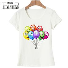 JIXISHENG Funny Cartoon balloon printing Women t shirt Fashion Short-sleeved O-neck tshirts
