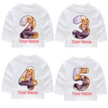 Long Hair Princess Cotton O-Neck Kids Birthday Number Sleeve T-shirts Fall Tops Baby Girl Harajuku Clothes