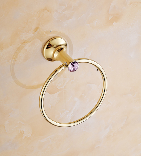 Gold Brass Bathroom Towel Ring, Luxury Crystalu0026 Purple Diamond Full Copper  Towel Holder Bathroom Accessories