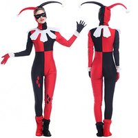 Harley Quinn Cosplay Anime Circus Clown Halloween Costumes For Women 5 Sets Hat Eye Patch Neck
