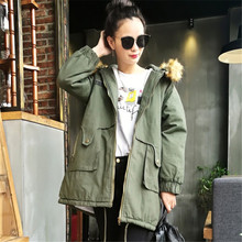 2016 Korean winter in the long loose fur collar cotton frock coat jacket thick warm female