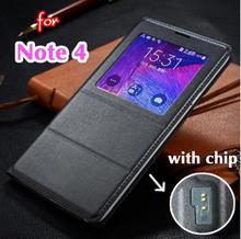 Примечание 4 Смарт Случае Передняя Вид из Окна Телефон Жилье Для Samsung Galaxy Примечание N9100 N9108 Роскошный Кожаный Флип Чехол примечание крышка чипа