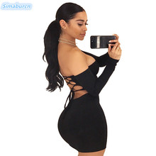 2018 Summer Dress Sexy Lace Up Off The Shoulder Mini Dress Female Backless Sheath Bodycon Package Hip Black Dresses Vestidos lace up sheath dress