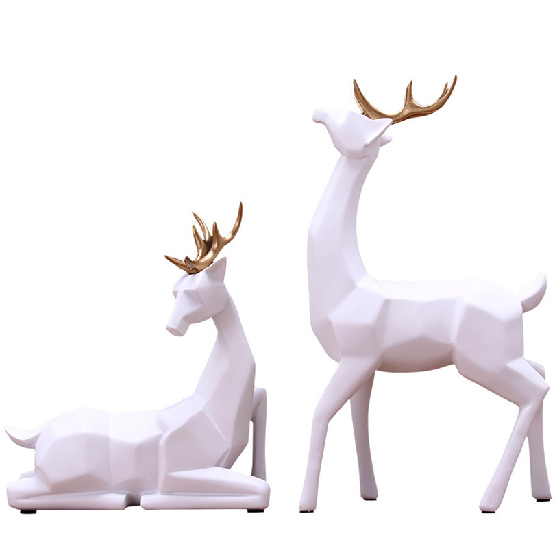 Wedding Gift A Couple of Deer Statue Home Decor Accessories Geometric Elk Sculpture White Blue Black Deer Figurines Ornaments in Statues Sculptures from Home Garden
