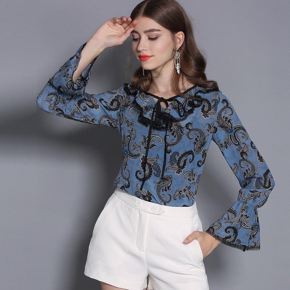 100% soie Blouse chemise femmes col en v Vintage imprimé Flare manches bleu rose Blouse dames décontracté chemise Blusas Femininas 2019 printemps - 2