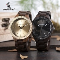 BOBO BIRD WP05 Mens Wood Watch Wooden Band Newest Brand Design Luxury Metal Face Quartz Watches