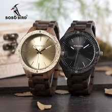 BOBO BIRD Reloj de pulsera de madera para hombre, de cuarzo, de lujo, en caja de madera