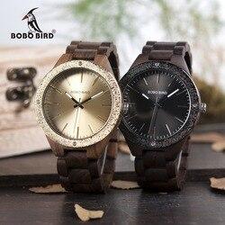 Bobo pássaro relógio masculino quartzo relógios de pulso de madeira marca superior relógios masculinos de luxo na caixa de madeira relogio masculino grande presente dos homens