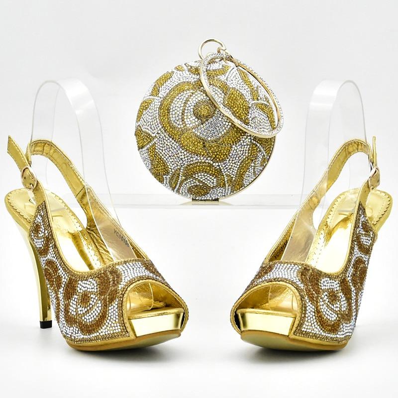 Para El Conjunto Adornados Las Con azul Rhinestone Boda De La Nigeriano Llegada Mujeres Negro Los Bolsas Juego A Bolso Nueva Y oro Sistemas fuchsia Italia Zapato Del Az1Cnwq