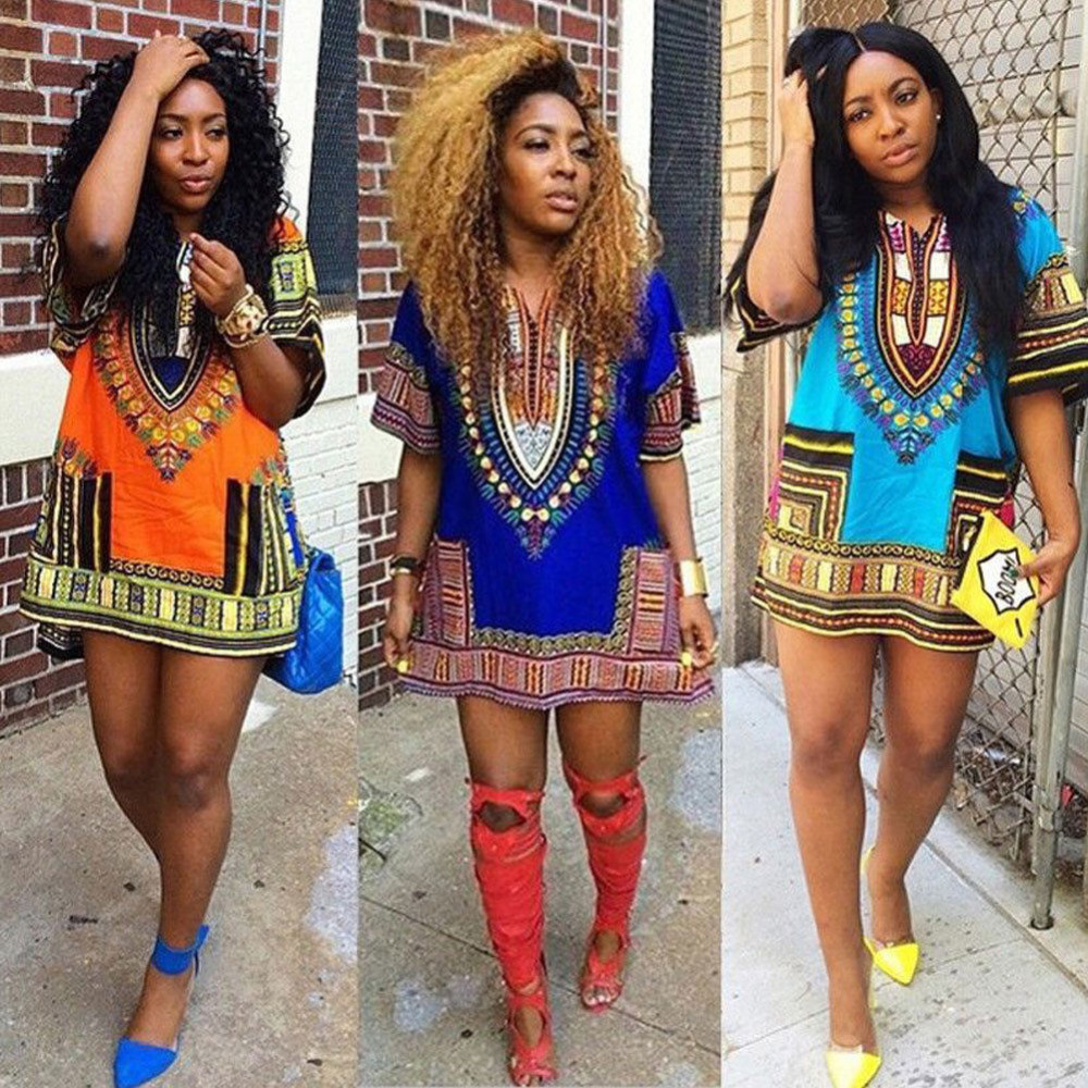 Hirigin 2019 New African Women Kaftan Dashiki Boho Hippie Short Dress Maxi Gown Caftan Plus Size