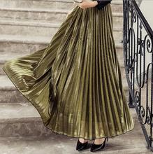 2017 spring and summer ladies skirts with elastic waist double crepe printing pleated long skirt Faldas Saia