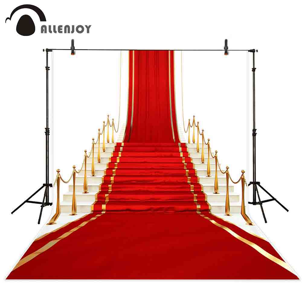 Allenjoy photocall backdrop Luxurious stairs carpet red golden classic new backdrop photocall photo photography background