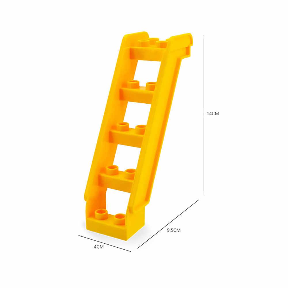 Bloques de construcción de partículas de gran tamaño, ladrillos, placa inferior, puerta, ventana, escaleras, Tobogán, accesorios para niños