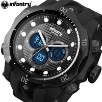 INFANTRY Mens Digital Wristwatches Black Rubber Sports Watches Backlight 30m Water Resistant Alarm Clock Relogio Masculino